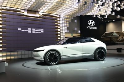 Image of Hyundai's full electric concept car: 45, shown from the front.