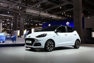 A picture of the all-new i10 N Line at the Frankfurt Motor Show.
