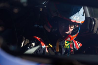 Hyundai WRC driver Craig Breen concentrated on the steering wheel.