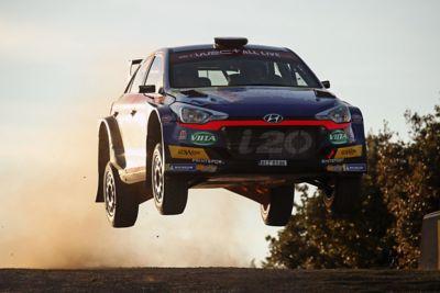 Hyundai Motorsport customer racing rally car i20 R5 shown from front.