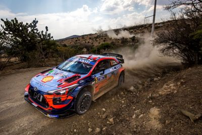 Hyundai i20 Coupe WRC driving on gravel with clouds of dust behind