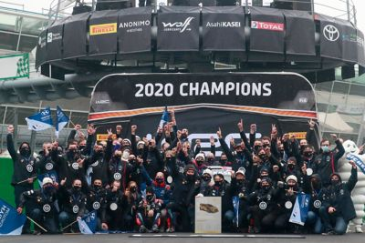The Hyundai WRC team celebrating the back-to-back championship in the season 2020.