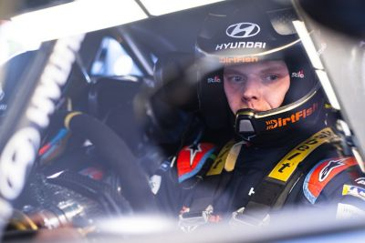 Hyundai Motorsport driver Ott Tänak in the drivers seat of the i20 Coupe WRC.
