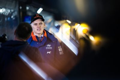Hyundai Motorsport driver Ott Tänak being during an interview
