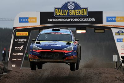 Hyundai Motorsport customer racing rally car i20 R5 in action at Rally Sweden.