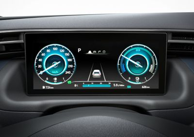 """The 10.25"""" digital cluster inside of the all-new Hyundai TUCSON Plug-in Hybrid compact SUV."""