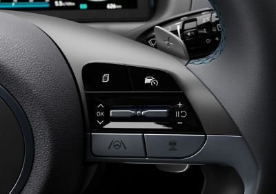 The paddle shifters on the steering wheel of the all-new Hyundai TUCSON Plug-in Hybrid compact SUV.