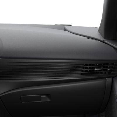 The full black interior trim inside the all-new Hyundai BAYON compact crossover SUV.