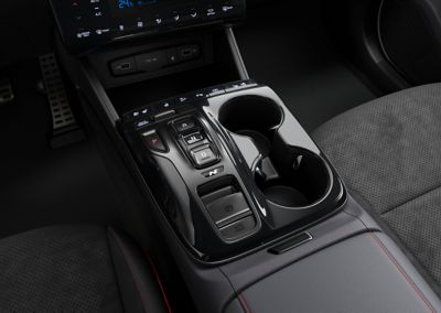 Detail of the all-new Hyundai TUCSON Hybrid N Line shift-by-wire console cover.