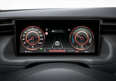 Detail of the all-new Hyundai TUCSON Hybrid N Line display in Sport mode