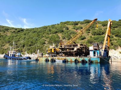 A recovery barge covered with marine debris salvaged from the ocean by Healthy Seas.