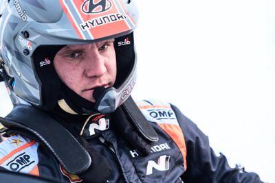 Hyundai WRC co-driver Martin Järveoja in full gear.