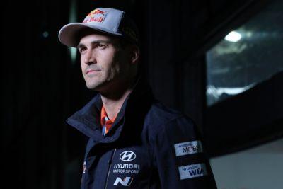 Hyundai Motorsport driver Dani Sardo during an interview.