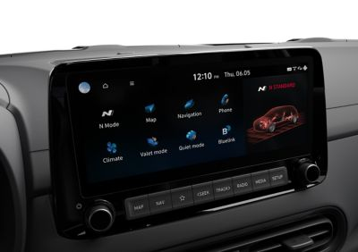 """10.25"""" touchscreen with Performance Driving Data System on display inside a Hyundai KONA N"""