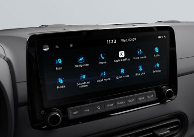 "10.25"" high definition touchscreen inside the Hyundai KONA N hot SUV"
