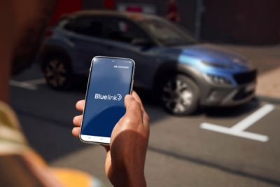 The new Hyundai Kona Hybrid compact SUV can be controlled with Bluelink®.