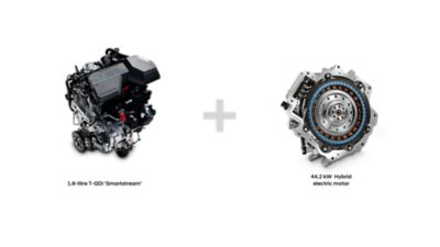The petrol engine and the electric motor in the Hyundai Santa Fe Hybrid 7 seat SUV.