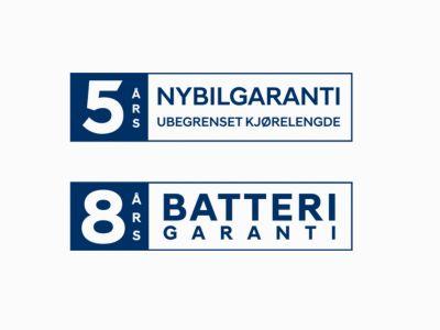 Fem års garanti med ubegrenset kjørelengde og åtte års batterigaranti for IONIQ 5. Grafikk.