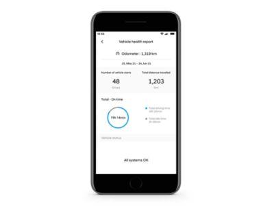 Detail aplikace Hyundai Bluelink s diagnostikou vozidla na obrazovce.