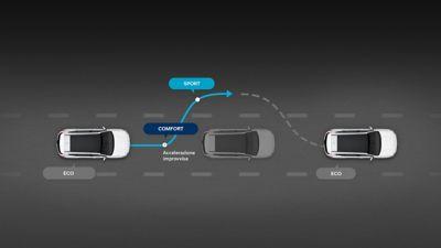 Grafico del comportamento di Nuova Hyundai Santa Fe in modalità Smart.