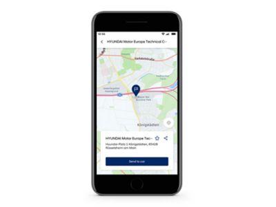 Detail aplikace Hyundai Bluelink s funkcí Cíl cesty odeslaný do vozu na obrazovce.