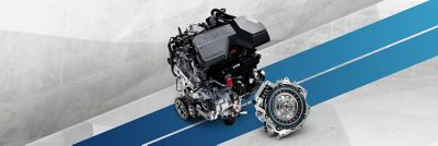 The combination of internal combustion engine and electric motor for a Hyundai Hybrid.