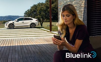 Image of a person using the Bluelink app.