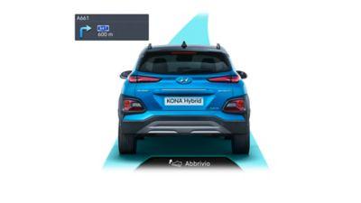 Illustrazione del sistema di avviso di decelerazione di Hyundai KONA Hybrid.