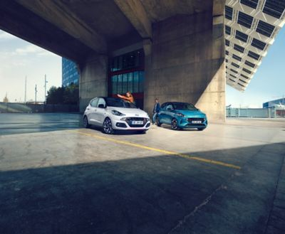 The Hyundai i10 N Line and Hyundai i10 parked on street