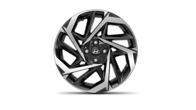 One of the all-new Hyundai i20 17-inch alloy rims against a white background