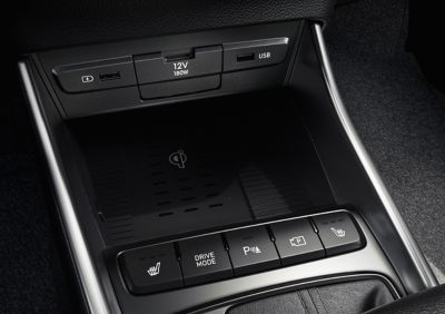 Close-up of one of the USB-ports inside of the all-new Hyundai i20