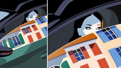 Kunstwerk van Bahar, geïnspireerd door de Hyundai BAYON, de nieuwe, compacte crossover-SUV.