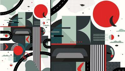 Kunstwerk van Pola Augustynowicz, geïnspireerd door de Hyundai BAYON, de nieuwe, compacte crossover-SUV.