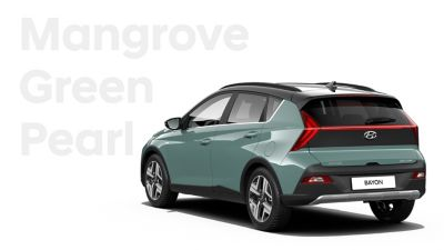 The different color options for the all-new Hyundai BAYON crossover SUV: Mangrove Green Pearl.