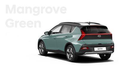De carrosseriekleuren voor de Hyundai BAYON, de nieuwe, compacte crossover-SUV: Mangrove Green Mica.