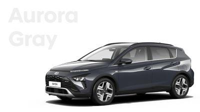 Las diferentes opciones de color para el nuevo SUV crossover Hyundai BAYON: Aurora Gray Pearl.