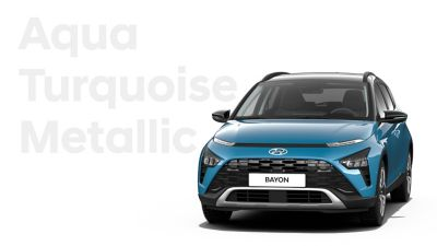 The different color options for the all-new Hyundai BAYON crossover SUV: Aqua Turquoise Metallic.