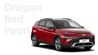 The different color options for the all-new Hyundai BAYON crossover SUV: Dragon Red Pearl.