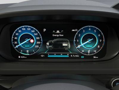 Het heldere 10,25-inch digitale instrumentenpaneel in de Hyundai BAYON, de nieuwe, compacte crossover-SUV.