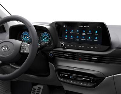 Het 10,25-inch Multimediascherm en digitale instrumentenpaneel in de Hyundai BAYON, de nieuwe, compacte crossover-SUV.