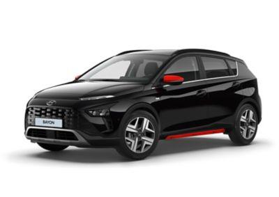 Cubiertas de los retrovisores exteriores y faldones laterales del Hyundai BAYON en color rojo.