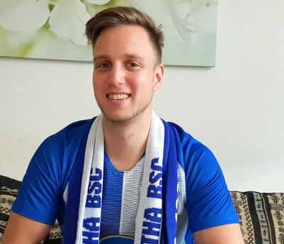 A photo of Hertha BSC fan Betram, who never misses a game.