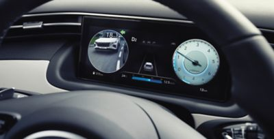 "The 10.25"" digital cluster inside of the all-new Hyundai Tucson compact SUV."