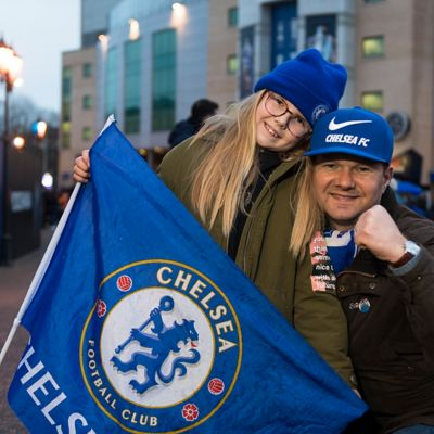 A picture of Chelsea FC supporter Adam, who has seen matches in 19 different countries.