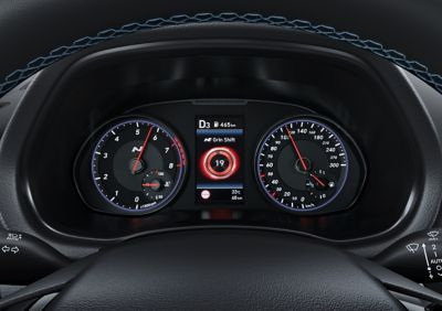 Steering wheel and digital cluster of the new Hyundai i30 N performance hatchback.