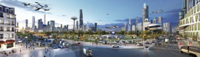 A city of future mobility with Hyundai's Personal Air Vehicles and Purpose Built Vehicles.