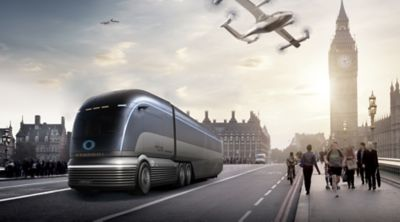 Hyundai's vision for a mobile city of the future with Urban Air Mobility and Purpose Built Vehicles.