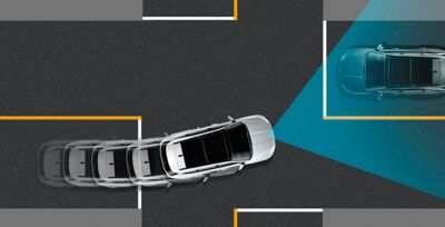 The Forward Collision-avoidance Assist (FCA) in the all-new Hyundai Tucson Hybrid compact SUV.