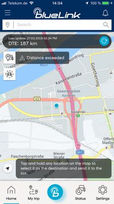 An image of the Bluelink app showing the find my car function of the new IONIQ Electric.