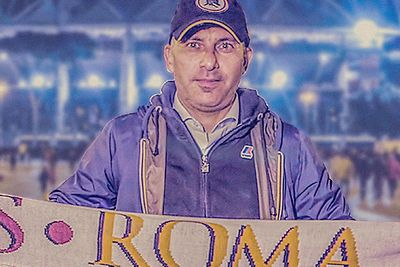 A photo of Francesco, AS Roma supporter who has attended more than 450 games.